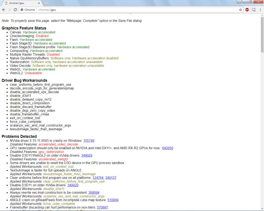 команда Chrome://gpu
